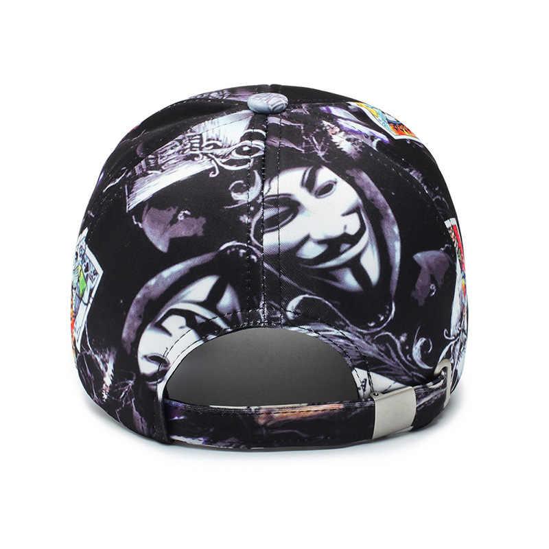 Yeni bahar beyzbol şapkası açık seyahat güneşlik güneş şapkası sokak moda Poker baskı Hip hop şapka kemik keten İskelet spor şapkalar