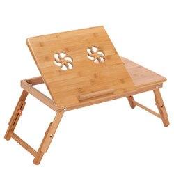 Actionclub portátil plegable mesa de ordenador portátil de bambú sofá cama Oficina portátil escritorio con ventilador de mesa de cama para ordenador portátil libros
