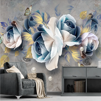 Custom modern 3d non-woven wallpaper wall painting mural 3d wallpaper hand painted flower floral wallpaper sofa mural фотообои non woven wallpaper на флизелиновой основе 107см 50м 130 г м2