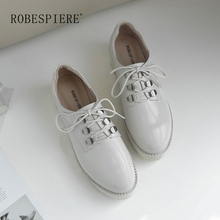 ROBESPIERE Casual Lace-Up Flat Platform Top Quality Patent Leather Round Toe Party Lady Shoes Fashion Metal Decoration A13