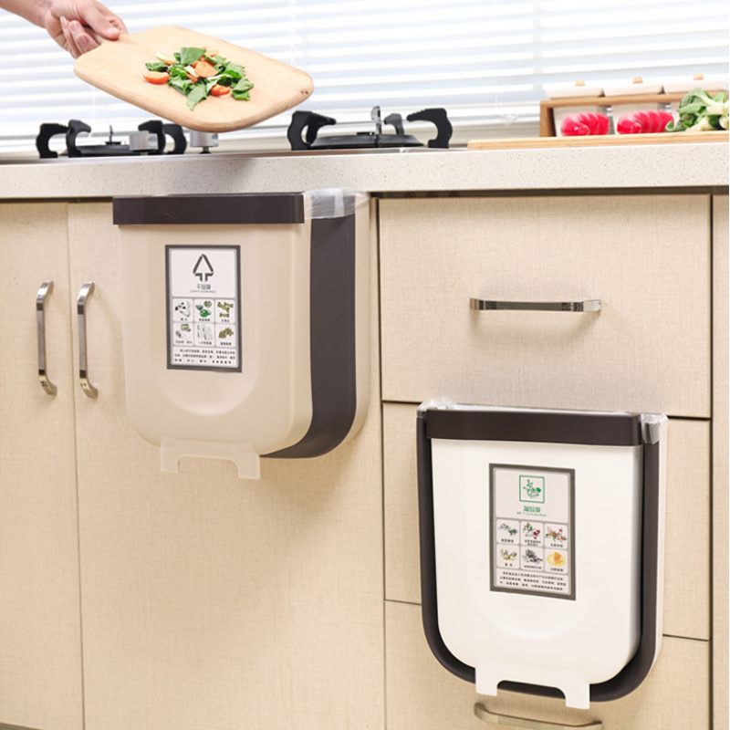 9L Folding Waste Bin Kitchen Cabinet Door Hanging Trash Can Wall Mounted Trashcan for Bathroom Toilet Garbage  Storage WJ40911