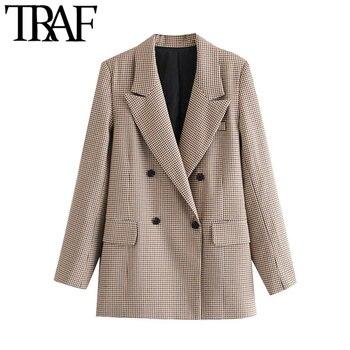 TRAF moda donna Blazer doppiopetto Check cappotto Vintage manica lunga prese daria capispalla donna top Chic