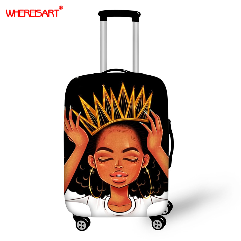 WHEREISART Black Queen Travel Thicken Elastic Luggage Suitcase Protective Cover, Apply To 18-30inch Cases, Travel Accessories