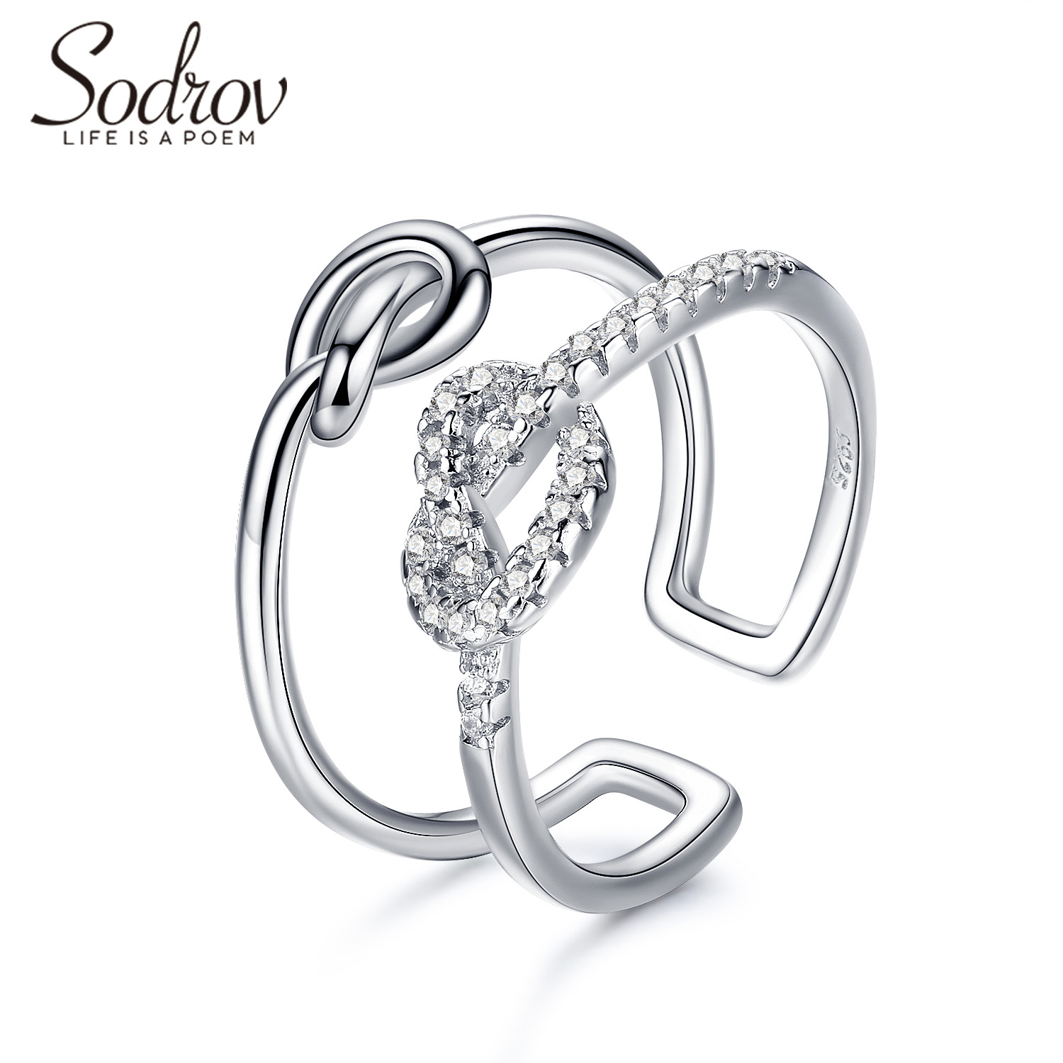 Sodrov Knot Ring Jewelry 925 Sterling Silver For Women Zircon Wedding Bands Adjustable Fine Accessories