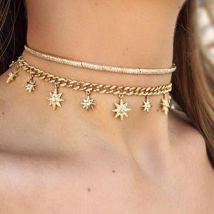 Image 2 - 32 + 8 centimetri hip hop bling Gold filled delle donne del choker Miami Cuban link catena con starburst stella di fascino del choker collane