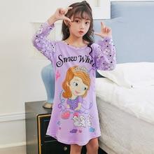 Ночная рубашка принцессы для детей; сезон весна-осень; милые ночные платья для девочек; Новинка года; Детская домашняя одежда; хлопковая ночная рубашка для малышей