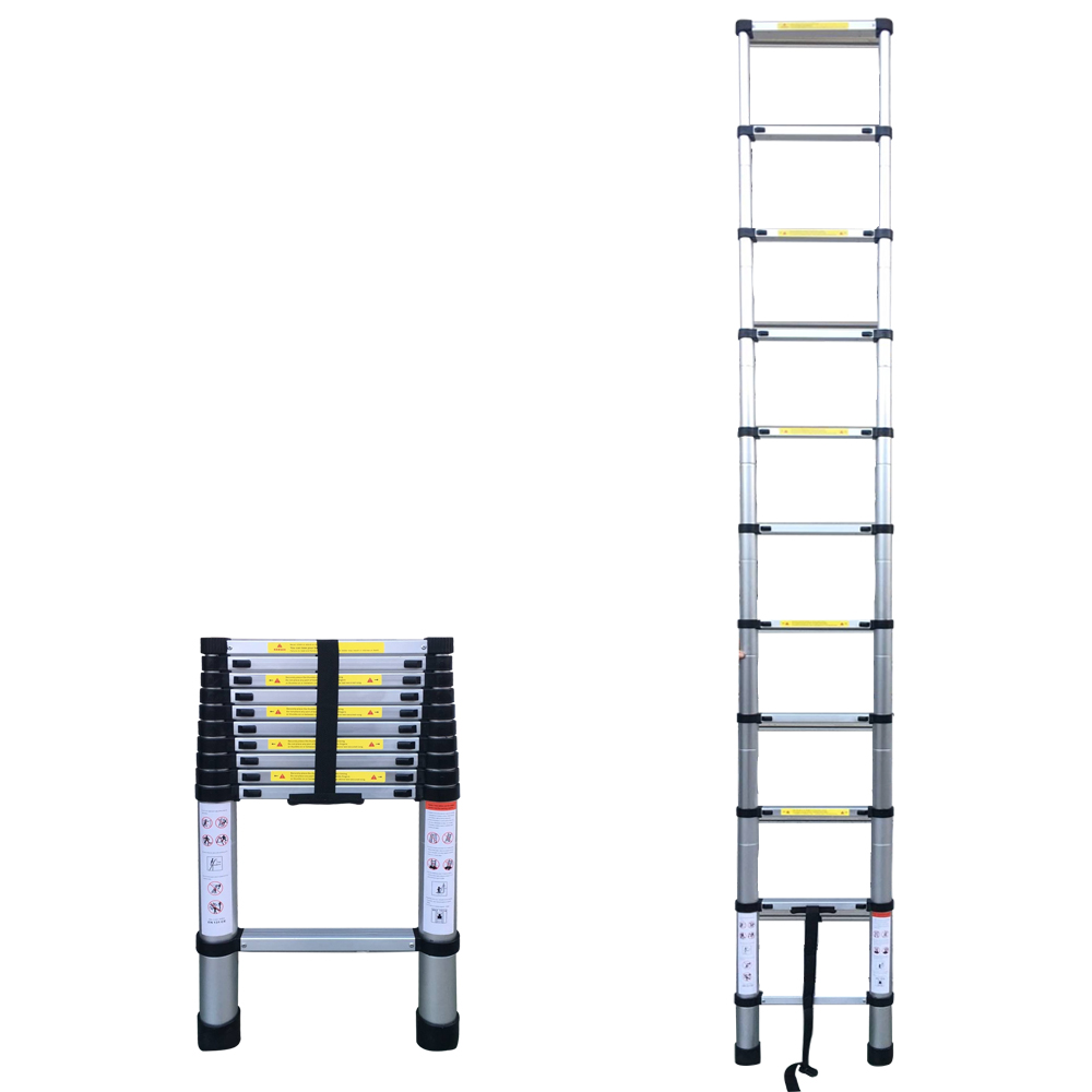 10.50FT(3.2m) Household Foldable Aluminium Alloy Ladder 11Steps Extension Ladders Telescopic Extendable