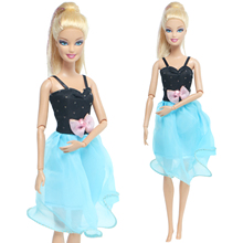 Dress Barbie-Doll Clothes-Accessories Casual-Wear Black Blue 1pcs for Kids Toy Sling
