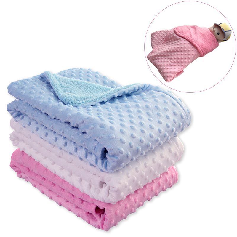 Baby Decke & Windeln Neugeborenen Thermische Weiche Fleece Decke Winter Solide Bettwäsche Set Baumwolle Quilt Infant Bettwäsche Swaddle Wrap