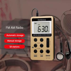 Image 3 - RETEKESS 10Pcs V112 FM AM 2 להקת רדיו מיני מקלט נייד דיגיטלי כוונון רדיו מקלט עם נטענת סוללה & אוזניות