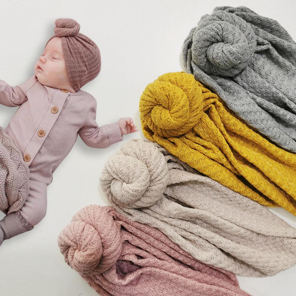 Новый однотонный вязаный детский головной убор с вафельным принтом От 3 месяцев до 5 лет тюрбан для новорожденных шапка бини головные уборы ...