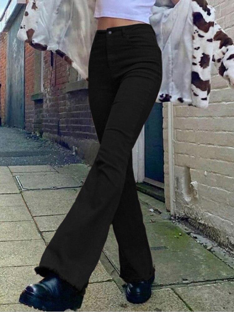 Джинсы Y2K Женские винтажные коричневые, модные классические расклешенные брюки из денима с завышенной талией в стиле Харадзюку, Капри с кар...