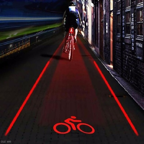 Cycling Bike Bicycle 2 Laser Projector Red Lamps Beam and 3 LED Rear Tail Lights (Color: Red)