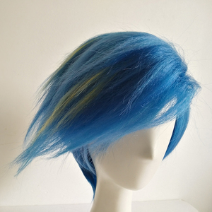 Image 5 - Galo Thymos Wig PROMARE Burning Rescue Cosplay Wig Short Straight Blue Heat Resistant Synthetic Hair Anime Wigs + Wig Cap