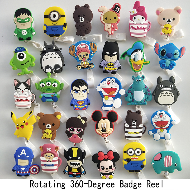 New Design 10 Piece High Quality Retractable Nurse Badge Reel Clip Cute Cartoon Character Style Students ID Card Badge Holder