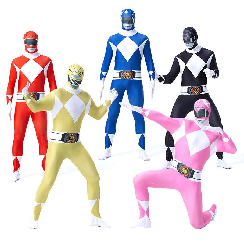 Adult Mans Zentai Skin Tight Power Ranger Dinosaurs Team Cosplay Fancy Costume