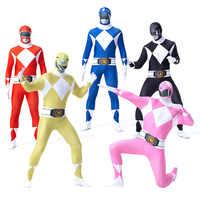 Erwachsene Mans Zentai Haut Engen Power Ranger Dinosaurier Team Cosplay Phantasie Kostüm