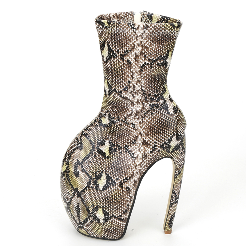 "Image 3 - jialuowei Brand New Strange Style Designer 18CM/7"" Super High Heels Sexy Fetish Serpentine Print Women Unisex Mid Calf BootsMid-Calf Boots   -"