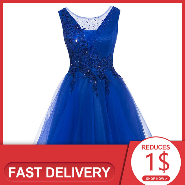 Dressv appliques cocktail dress dark navy scoop neck sleeveless knee length a line beading homecoming short cocktail dresses