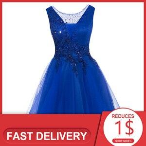 Image 1 - Dressv appliques robe de cocktail bleu marine foncé encolure dégagée sans manches longueur au genou une ligne perles retour robes de cocktail courtes