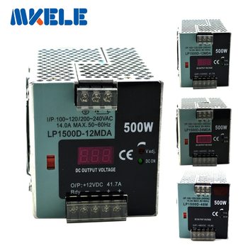 DC 12V 24V 48V Regulated Switching Power Supply AC/DC 500W Power Supply Digital Display Din Rail Single Output Mini Adjustable фото