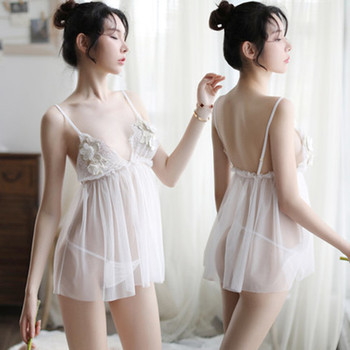 New Style Sexy Lingerie Embroidered Corsage Strap Pajamas Beautiful Tulle Perspective Halter Ladies Home Service