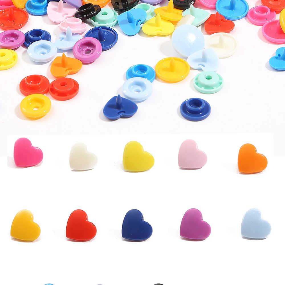 10/20 zestawów KAM T5 serca zatrzaski na odzież akcesoria Butttons DIY zatrzask elementów złącznych pielucha dla niemowląt klipsy do ubrań przyciski