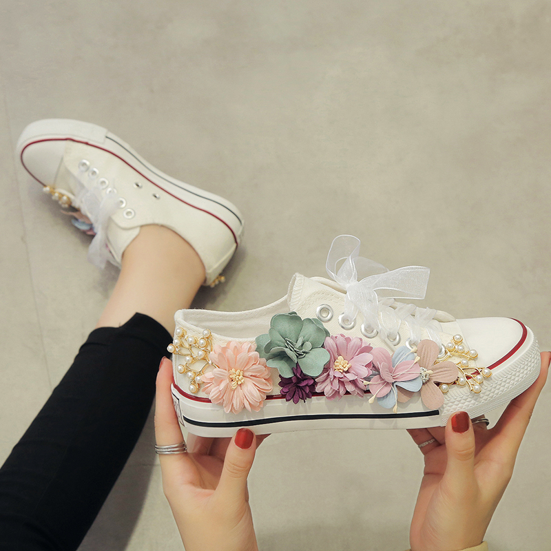 2020 The New Spring Women's Canvas Shoes Seven Colorful Flowers Lace Up Flat Shoes Casual Shoes Women's Outdoor Shoes W31-24
