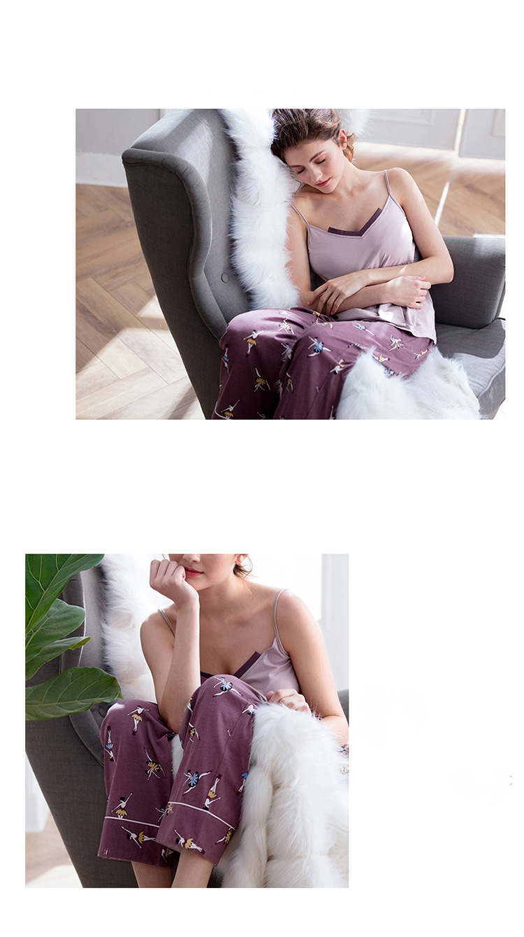 Cotton Pajamas Autumn Winter Women's Warm Casual 3 Piece Set Solid Color Sling Printed Trousers Lapel Long Nightgown Women's 28