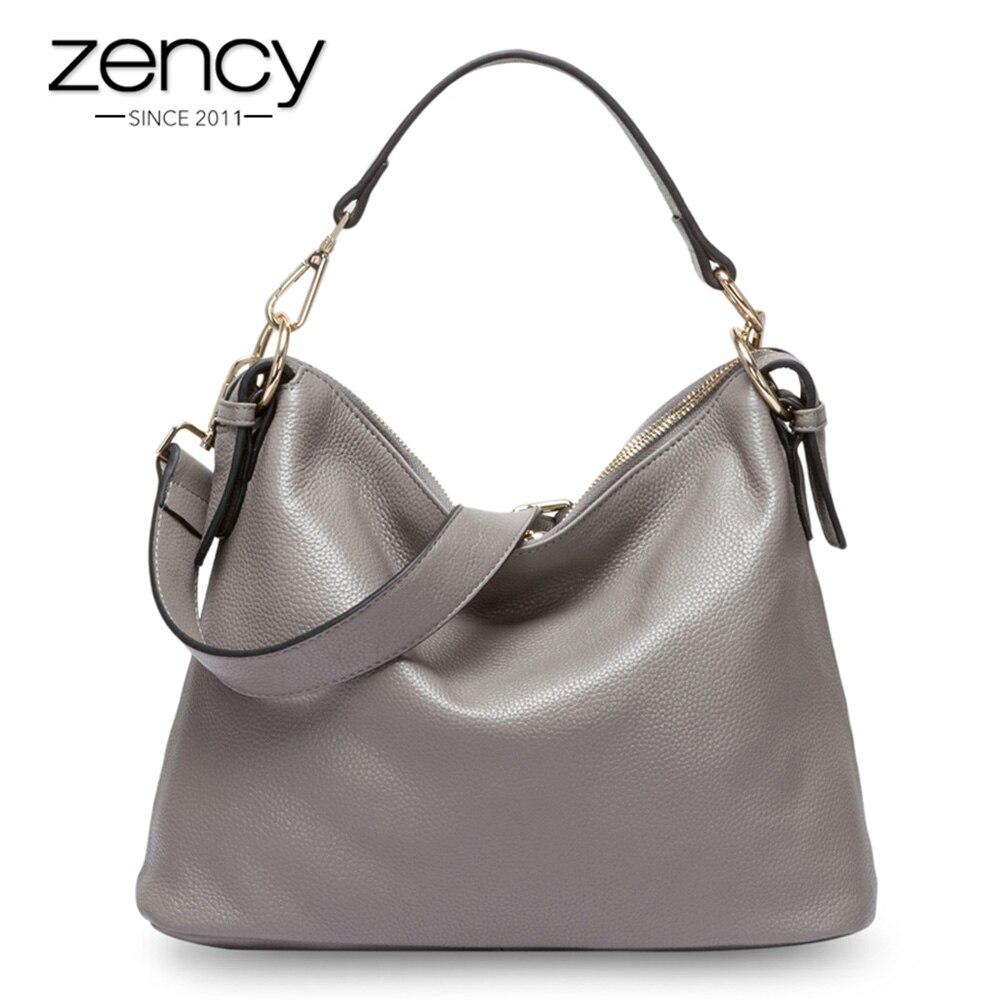 Zency Fashion Grey Women Shoulder Bag 100% Genuine Leather Handbag New Style Female Messenger Crossbody Purse Lady Casual Tote