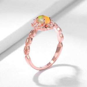Image 4 - Kuololit Doğal Opal Taş Yüzük Kadınlar için 925 Ayar Gümüş Yüzük Düğün El Yapımı Nişan Bant Parçası Hediye Güzel Takı