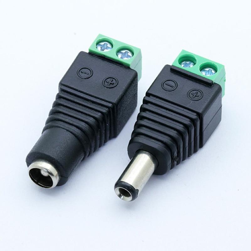 10Pcs Câmeras de CCTV 2.5x5.5mm 5.5*2.5 milímetros Feminino Masculino DC Power Plug Jack Adapter Connector plugue