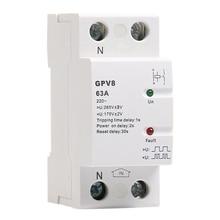 ABKT-din-рейка автоматическая защита от перенапряжения 220V AC однофазный и трехфазный самосброс протектор GPV8-63D 63A