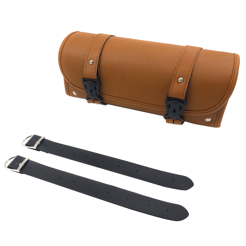 Leather Pu Motorcycle Saddlebags Front Fork Tool Bag Luggage Saddlebag For Chopper Bobber Cruiser