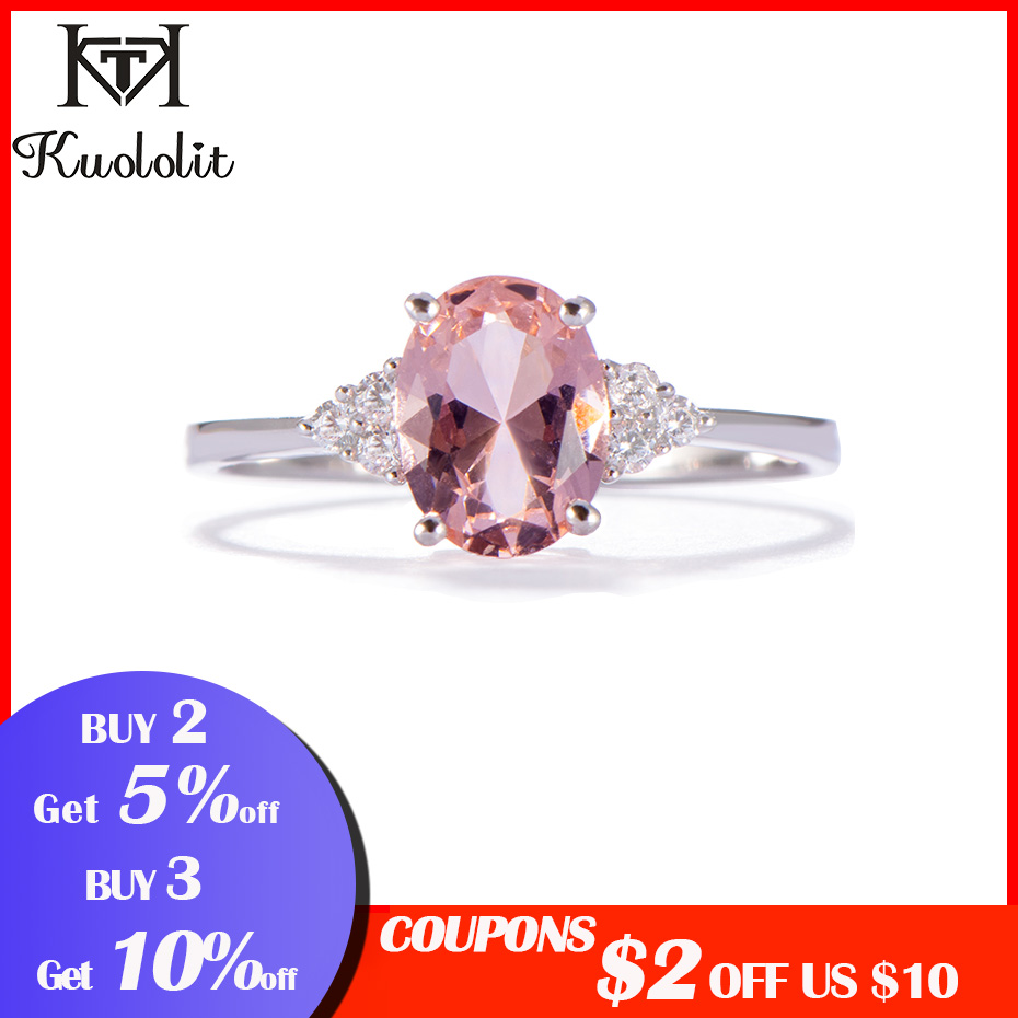 Image 2 - Kuololit Morganite Gemstone Ring for Women Solid 925 Sterling Silver Created Pink Color Stone Wedding Engagement  Fine JewelryRings   -