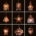 4000111304739 - Decoración Estilo mediterránea hecho a mano turco colgante luz globos de vidrio lámpara colgante con mosaico para Bar cafetería