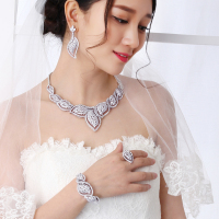 Large top quality engagement party 4pcs sets White full crystal Necklace+Bracelet+earrings+ring big jewelry set for bridal
