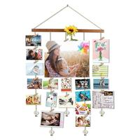 Home Decor Wood Hanging Photo Display Picture Frame Collage By Multi Photo Display with 20 Clips Golden Chain Crystal Pendant
