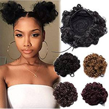 Fluffy Curly African Hair Bag Explosion Head Shape Accessories  Elastic Rope Synthetic Buns for Black