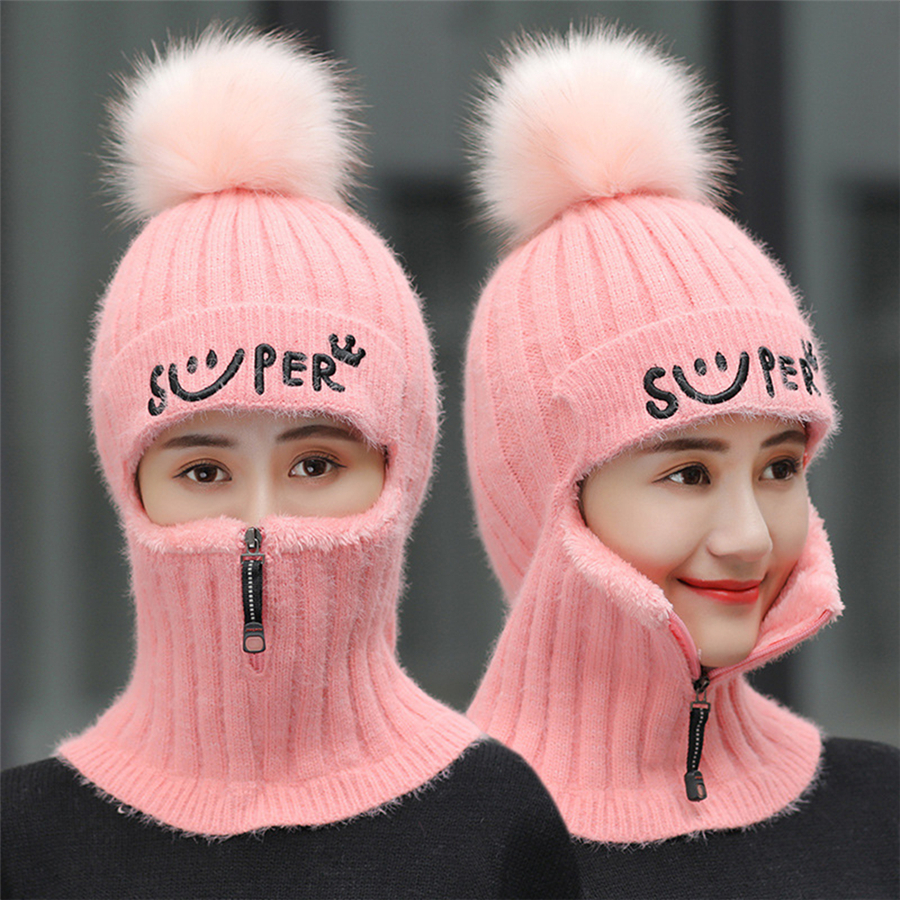 Brand Winter Hats Set Women Knitted Wool Hat Mask Lady Warm Velvet Thick Cycling Beanies Skullies Hat Female Collar Jumper Cap
