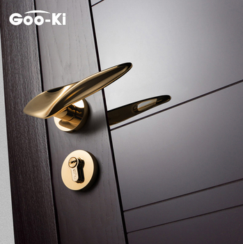 Gold Zinc Alloy Handle Door Lock Handle  Anti-theft Modern Furniture Gate for Home Security Interior Lock Set Door Hardware [accessories] antique chinese classical dividend copper door handle of ming and qing dynasty furniture lock handle