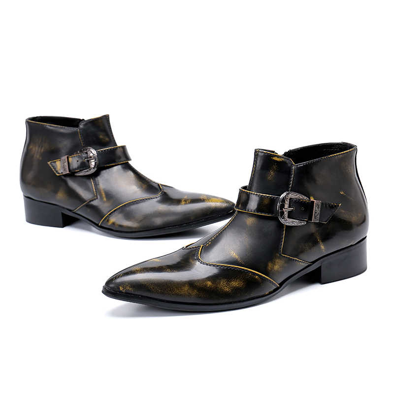 אמיתי עור מחודד הבוהן zip אבזם רטרו קרסול מגפי עקב נמוך מגפיים רשמיים אופנה מסיבת שלב שמלת נעליים