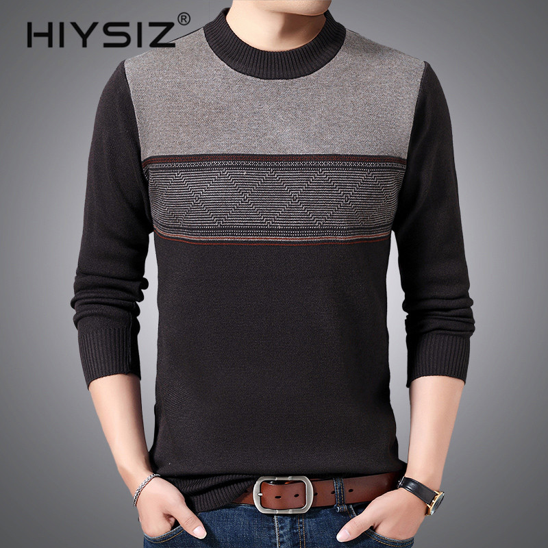 HIYSIZ Brand 2019 Casual Men sweater Streetwear Winter Knitted pull Sweater Men Fashion O-Neck Pull Homme Stripe Clothes H3020