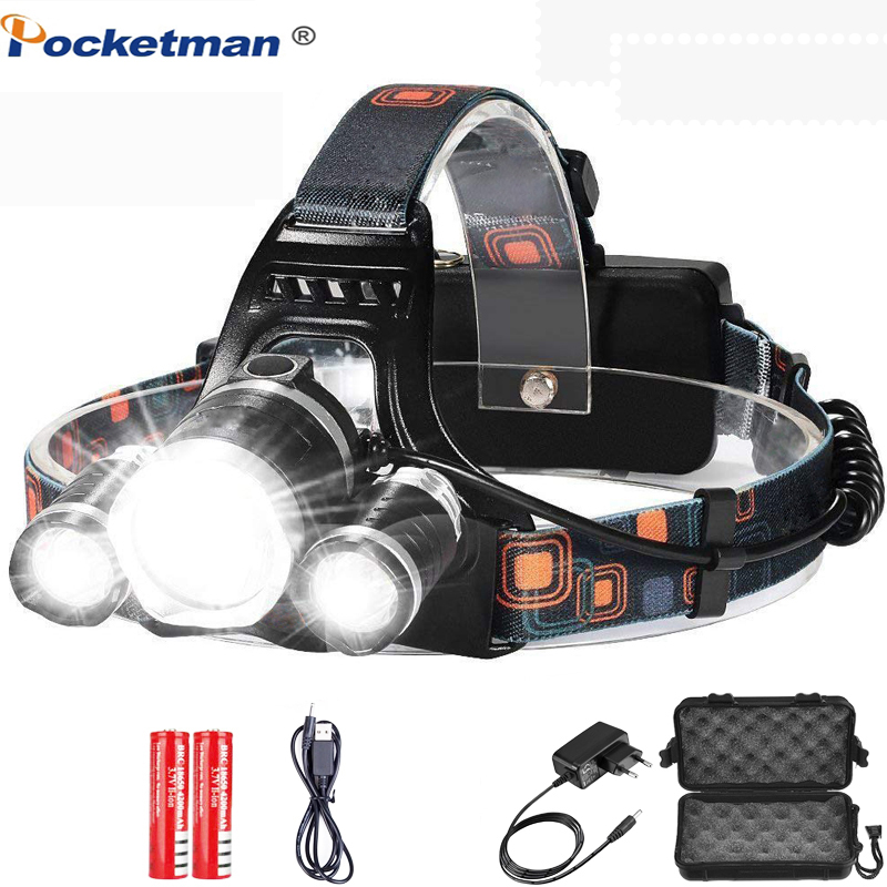 8000 Lumens 5 Led Headlamp XML T6 Head Lamp Powerful Led Headlight, With 18650 Battery Flashlight Head Lights For Hiking