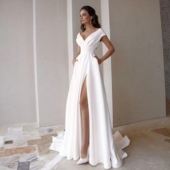 Modesto vestido de noiva com decote em v 2021 moda manga curta varredura trem fenda uma linha vestido de noiva com bolsos 1
