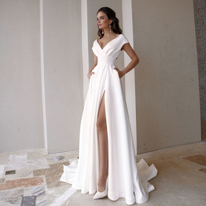 Modest V-neck Satin Wedding Dress 2020 Fashion Short Sleeve Sweep Train Slit A Line Bridal Dress with Pockets