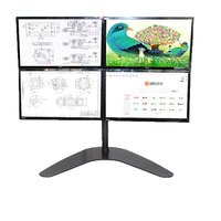 LCD Computer Monitor Stand Freestanding Heavy Duty Desk Stand Fully Adjustable To Accommodate 4 Screens Up To 30 Inches