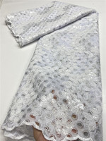 XIYA White African Lace Fabric 2020 High Quality Lace With Sequins Nigerian Lace Fabrics For Wedding Dress Sewing QF3567B 4