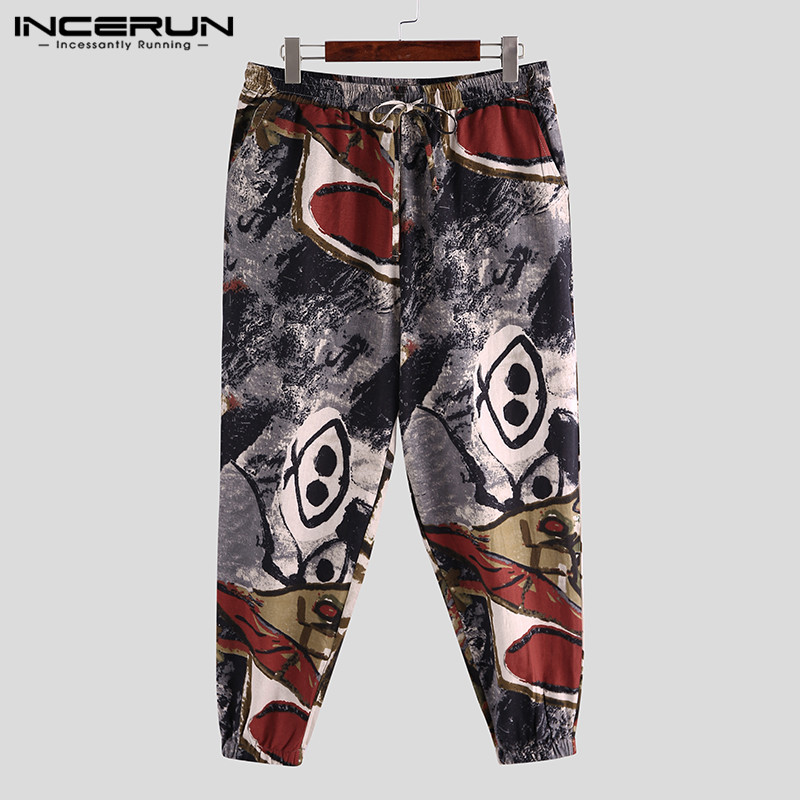 Men Harem Pants Printed Joggers Streetwear Drawstring Cotton Linen Vintage Casual Trousers Men Loose Ethnic Pants S-5XL INCERUN