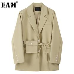 [EAM]  Women khaki bandage split big size Blazer New Lapel Long Sleeve Loose Fit  Jacket Fashion Tide Spring Autumn 2020 1X198